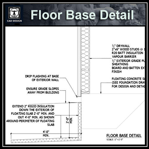 Free CAD Details-Floor Base Detail - CAD Design | Download CAD Drawings | AutoCAD Blocks | AutoCAD Symbols | CAD Drawings | Architecture Details│Landscape Details | See more about AutoCAD, Cad Drawing and Architecture Details