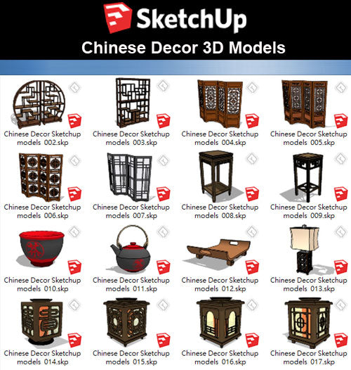 【Sketchup 3D Models】44 Types of Chinese Decor Elements Sketchup models V.1