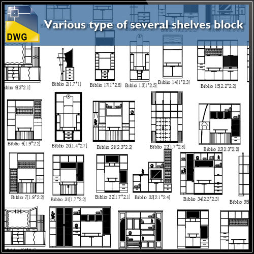 Various type of several shelves block design drawing