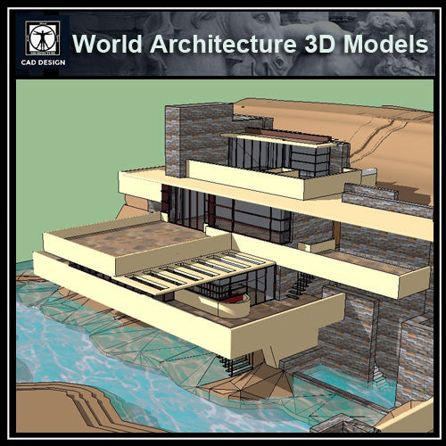 Sketchup 3D Architecture models-  Fallingwater-Frank Lloyd Wright - CAD Design | Download CAD Drawings | AutoCAD Blocks | AutoCAD Symbols | CAD Drawings | Architecture Details│Landscape Details | See more about AutoCAD, Cad Drawing and Architecture Details