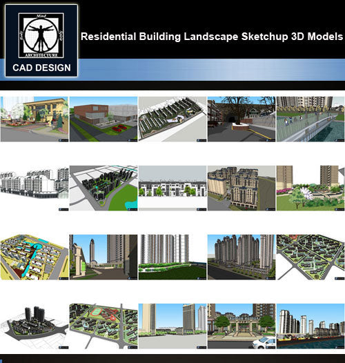 【Sketchup 3D Models】20 Types of Residential Building Landscape Sketchup 3D Models  V.1 - CAD Design | Download CAD Drawings | AutoCAD Blocks | AutoCAD Symbols | CAD Drawings | Architecture Details│Landscape Details | See more about AutoCAD, Cad Drawing and Architecture Details