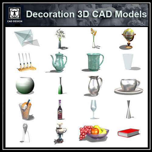 Decoration 3D Cad Models - CAD Design | Download CAD Drawings | AutoCAD Blocks | AutoCAD Symbols | CAD Drawings | Architecture Details│Landscape Details | See more about AutoCAD, Cad Drawing and Architecture Details