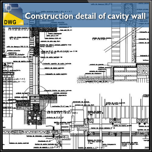 Construction detail of cavity wall design drawing - CAD Design | Download CAD Drawings | AutoCAD Blocks | AutoCAD Symbols | CAD Drawings | Architecture Details│Landscape Details | See more about AutoCAD, Cad Drawing and Architecture Details