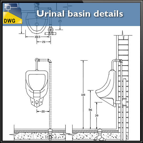 Urinal basin details - CAD Design | Download CAD Drawings | AutoCAD Blocks | AutoCAD Symbols | CAD Drawings | Architecture Details│Landscape Details | See more about AutoCAD, Cad Drawing and Architecture Details