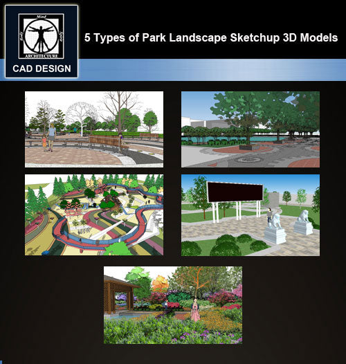 【Sketchup 3D Models】5 Types of Park Landscape Sketchup 3D Models  V.3 - CAD Design | Download CAD Drawings | AutoCAD Blocks | AutoCAD Symbols | CAD Drawings | Architecture Details│Landscape Details | See more about AutoCAD, Cad Drawing and Architecture Details