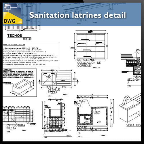 Sanitation latrines architecture detail dwg files