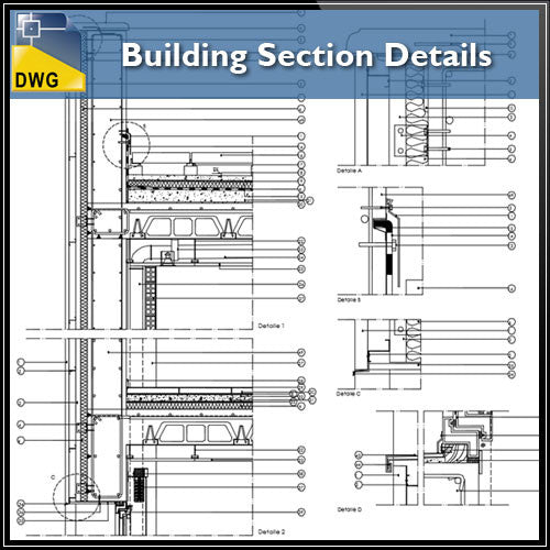 Building Section Detail - CAD Design | Download CAD Drawings | AutoCAD Blocks | AutoCAD Symbols | CAD Drawings | Architecture Details│Landscape Details | See more about AutoCAD, Cad Drawing and Architecture Details