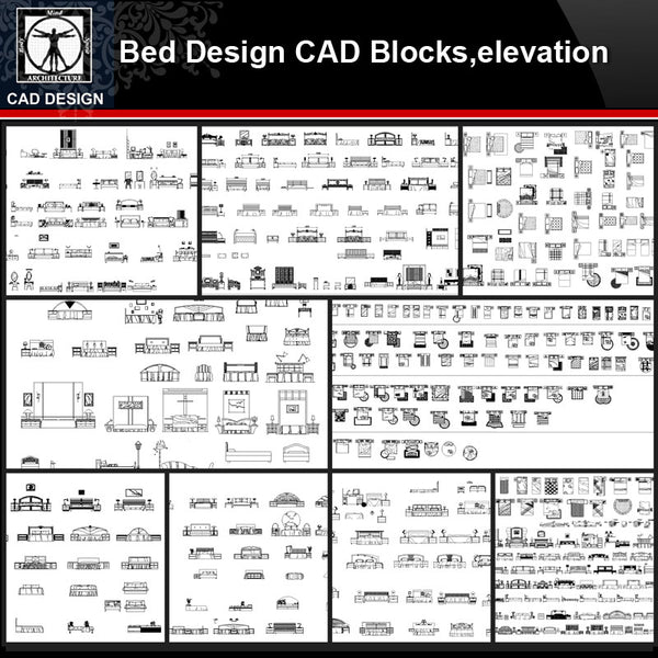 ★【Bed Design Autocad Blocks,elevation Collections】All kinds of Bed CAD Blocks - CAD Design | Download CAD Drawings | AutoCAD Blocks | AutoCAD Symbols | CAD Drawings | Architecture Details│Landscape Details | See more about AutoCAD, Cad Drawing and Architecture Details