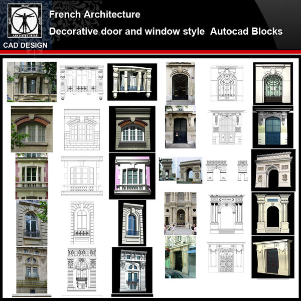 ★【French Architecture Style Design】French architecture · Decorative door and window style CAD Drawings