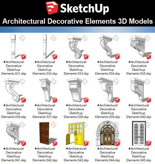 【Sketchup 3D Models】25 Types of Architectural Decorative Elements Sketchup models V.2
