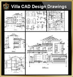 ★【Villa CAD Design,Details Project V.9】Chateau,Manor,Mansion,Villa@Autocad Blocks,Drawings,CAD Details,Elevation