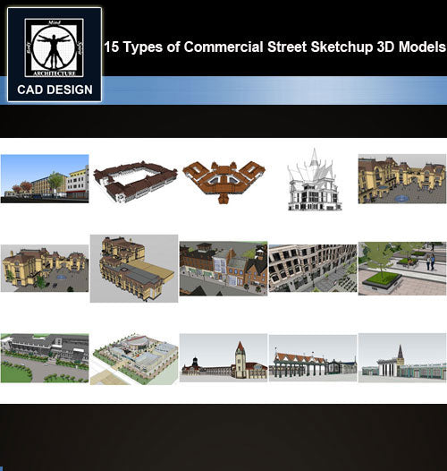 【Sketchup 3D Models】15 Types of Commercial Street Design Sketchup 3D Models  V.1
