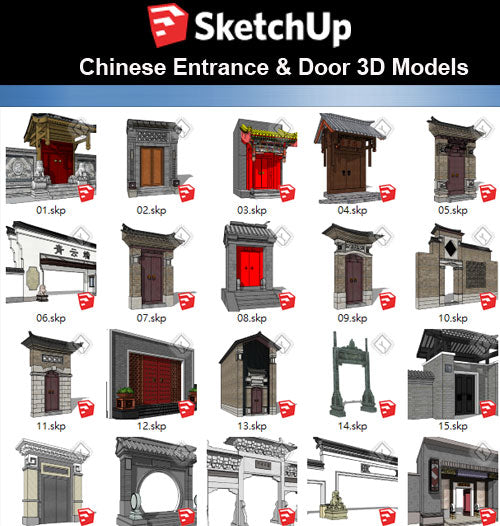 【Sketchup 3D Models】46 Types of Chinese Entrance Design 3D Models - CAD Design | Download CAD Drawings | AutoCAD Blocks | AutoCAD Symbols | CAD Drawings | Architecture Details│Landscape Details | See more about AutoCAD, Cad Drawing and Architecture Details