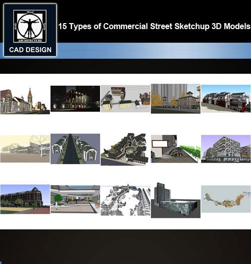 【Sketchup 3D Models】15 Types of Commercial Street Design Sketchup 3D Models  V.5