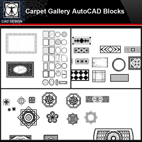 ★【Carpet Gallery Autocad Blocks Collections】All kinds of Carpet CAD Blocks