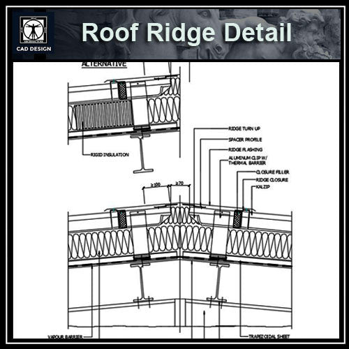 Free CAD Details-Roof Ridge Detail - CAD Design | Download CAD Drawings | AutoCAD Blocks | AutoCAD Symbols | CAD Drawings | Architecture Details│Landscape Details | See more about AutoCAD, Cad Drawing and Architecture Details