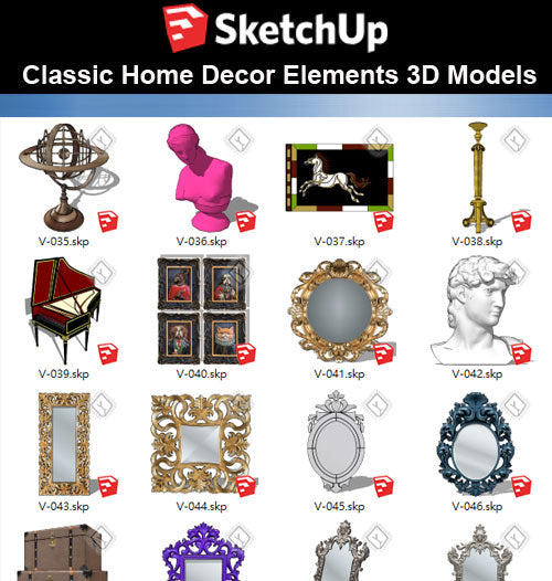 【Sketchup 3D Models】32 Types of Home Decor Elements Sketchup models V.2 - CAD Design | Download CAD Drawings | AutoCAD Blocks | AutoCAD Symbols | CAD Drawings | Architecture Details│Landscape Details | See more about AutoCAD, Cad Drawing and Architecture Details