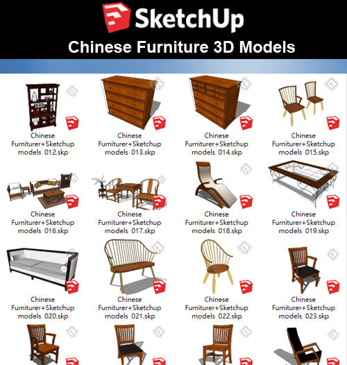 【Sketchup 3D Models】55 Types of Chinese Furniturer Design Sketchup models V.1