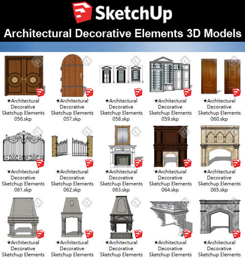 【Sketchup 3D Models】25 Types of Architectural Decorative Elements Sketchup models V.3