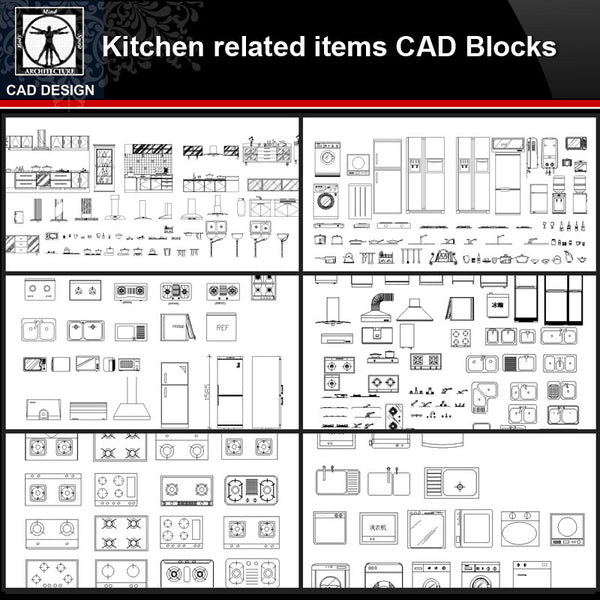 ★【Kitchen related items Autocad Blocks Collections】All kinds of Kitchen CAD Blocks