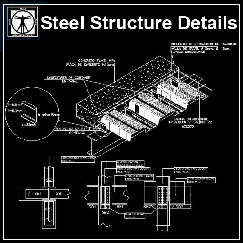 Steel Structure Details V2 - CAD Design | Download CAD Drawings | AutoCAD Blocks | AutoCAD Symbols | CAD Drawings | Architecture Details│Landscape Details | See more about AutoCAD, Cad Drawing and Architecture Details