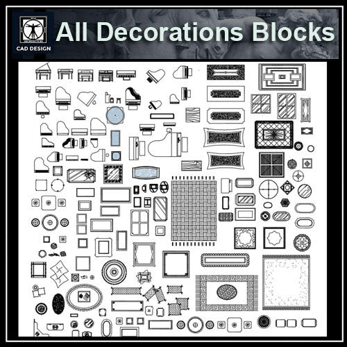 All Decoration Blocks - CAD Design | Download CAD Drawings | AutoCAD Blocks | AutoCAD Symbols | CAD Drawings | Architecture Details│Landscape Details | See more about AutoCAD, Cad Drawing and Architecture Details