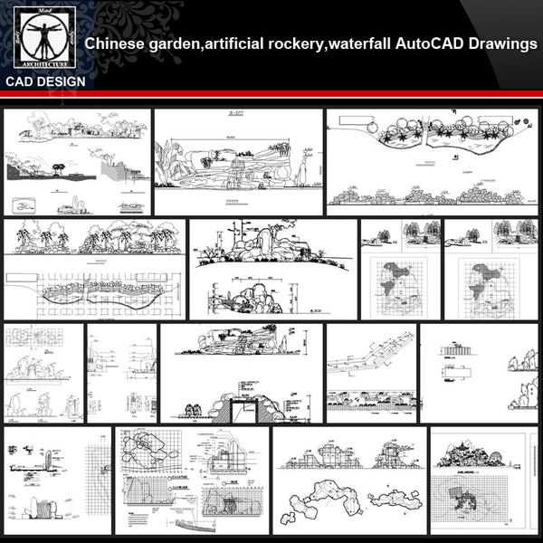 ★【Chinese Garden,Artificial rockery,Waterfall Autocad Drawings】All kinds of Chinese Landscape CAD Drawings - CAD Design | Download CAD Drawings | AutoCAD Blocks | AutoCAD Symbols | CAD Drawings | Architecture Details│Landscape Details | See more about AutoCAD, Cad Drawing and Architecture Details