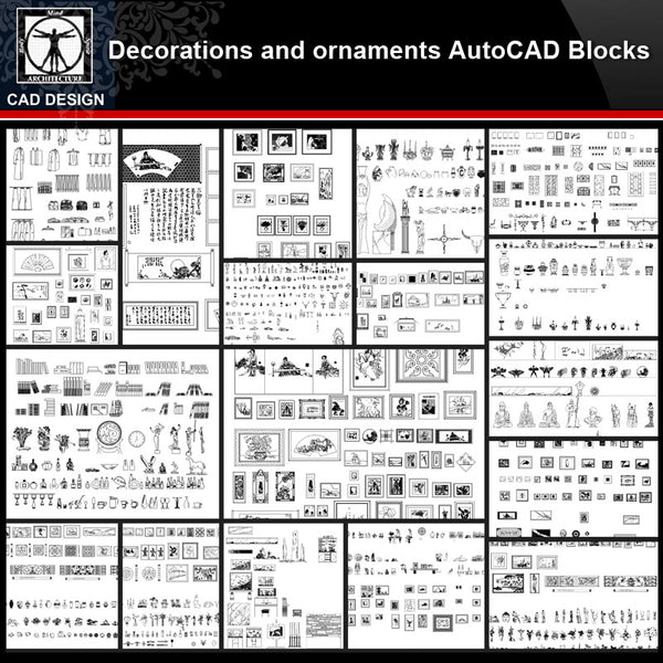 ★【Decorations and ornaments Autocad Blocks Collections】All kinds of Decorations CAD Blocks - CAD Design | Download CAD Drawings | AutoCAD Blocks | AutoCAD Symbols | CAD Drawings | Architecture Details│Landscape Details | See more about AutoCAD, Cad Drawing and Architecture Details