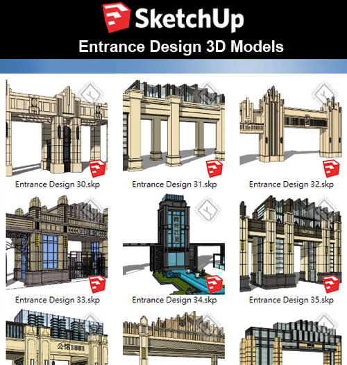 【Sketchup 3D Models】10 Types of European Entrance & Door 3D Models V.4