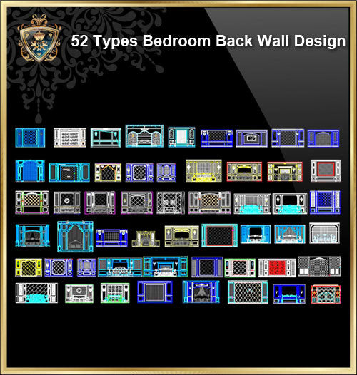 52 Types of Bedroom Back Wall Design - CAD Design | Download CAD Drawings | AutoCAD Blocks | AutoCAD Symbols | CAD Drawings | Architecture Details│Landscape Details | See more about AutoCAD, Cad Drawing and Architecture Details