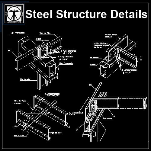 Free Steel Structure Details 3 - CAD Design | Download CAD Drawings | AutoCAD Blocks | AutoCAD Symbols | CAD Drawings | Architecture Details│Landscape Details | See more about AutoCAD, Cad Drawing and Architecture Details