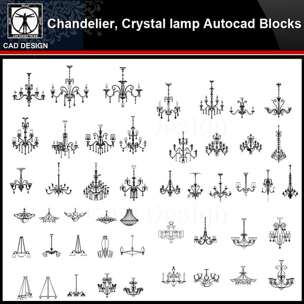 ★【 Chandelier, Crystal lamp Autocad Blocks】-All kinds of Autocad Blocks Collection - CAD Design | Download CAD Drawings | AutoCAD Blocks | AutoCAD Symbols | CAD Drawings | Architecture Details│Landscape Details | See more about AutoCAD, Cad Drawing and Architecture Details