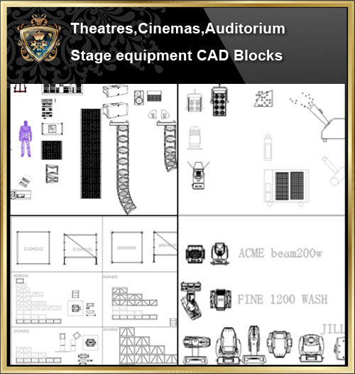 ★【Stage lighting,Stage sound system CAD Blocks-Auditorium ,Cinema, Theaters CAD Blocks】@Auditorium ,Cinema, Theaters CAD Blocks,Stage lighting,Stage sound system Autocad Blocks,Drawings,Details