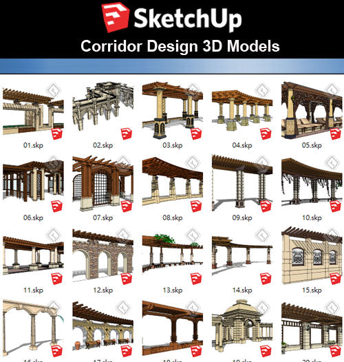 【Sketchup 3D Models】22 Types of Corridor Design 3D Models - CAD Design | Download CAD Drawings | AutoCAD Blocks | AutoCAD Symbols | CAD Drawings | Architecture Details│Landscape Details | See more about AutoCAD, Cad Drawing and Architecture Details