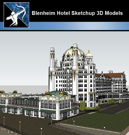 【Sketchup 3D Models】Blenheim Hotel Design Sketchup 3D Models - CAD Design | Download CAD Drawings | AutoCAD Blocks | AutoCAD Symbols | CAD Drawings | Architecture Details│Landscape Details | See more about AutoCAD, Cad Drawing and Architecture Details