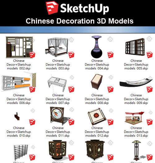 【Sketchup 3D Models】41 Types of Chinese Decor Elements  Sketchup models V.1