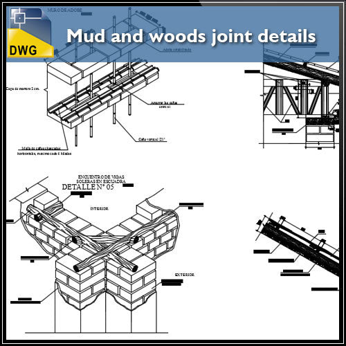 Mud and woods joint and constructions detail drawing