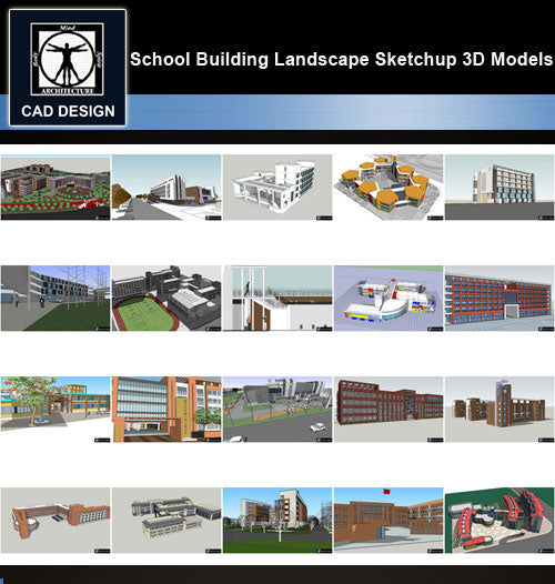 【Sketchup 3D Models】20 Types of School Design Sketchup 3D Models  V.2 - CAD Design | Download CAD Drawings | AutoCAD Blocks | AutoCAD Symbols | CAD Drawings | Architecture Details│Landscape Details | See more about AutoCAD, Cad Drawing and Architecture Details