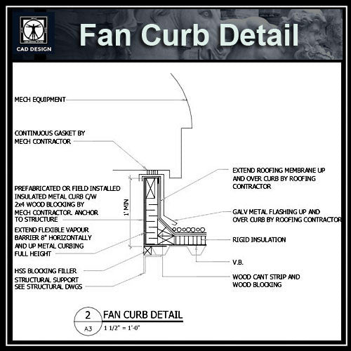 Free CAD Details-Fan Curb Detail - CAD Design | Download CAD Drawings | AutoCAD Blocks | AutoCAD Symbols | CAD Drawings | Architecture Details│Landscape Details | See more about AutoCAD, Cad Drawing and Architecture Details