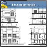 Town house details - CAD Design | Download CAD Drawings | AutoCAD Blocks | AutoCAD Symbols | CAD Drawings | Architecture Details│Landscape Details | See more about AutoCAD, Cad Drawing and Architecture Details