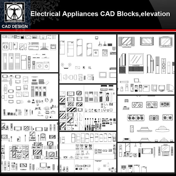 ★【Electrical Appliances Autocad Blocks Collections】All kinds of Electrical Appliances CAD Blocks - CAD Design | Download CAD Drawings | AutoCAD Blocks | AutoCAD Symbols | CAD Drawings | Architecture Details│Landscape Details | See more about AutoCAD, Cad Drawing and Architecture Details