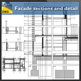 Facade sections and details - CAD Design | Download CAD Drawings | AutoCAD Blocks | AutoCAD Symbols | CAD Drawings | Architecture Details│Landscape Details | See more about AutoCAD, Cad Drawing and Architecture Details