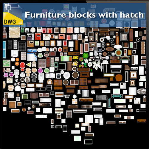 Furniture blocks with hatch - CAD Design | Download CAD Drawings | AutoCAD Blocks | AutoCAD Symbols | CAD Drawings | Architecture Details│Landscape Details | See more about AutoCAD, Cad Drawing and Architecture Details