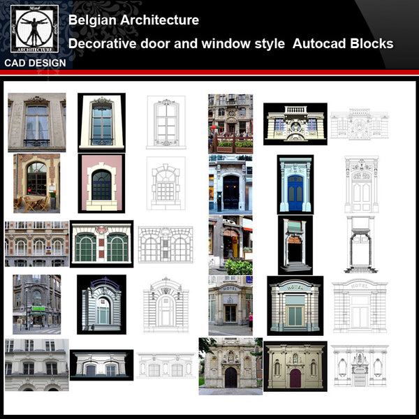 ★【Belgian Architecture Style Design】Belgian architecture · Decorative door and window style CAD Drawings