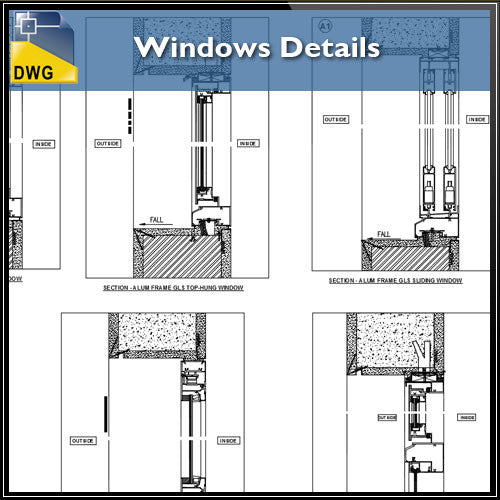 Windows Detail - CAD Design | Download CAD Drawings | AutoCAD Blocks | AutoCAD Symbols | CAD Drawings | Architecture Details│Landscape Details | See more about AutoCAD, Cad Drawing and Architecture Details