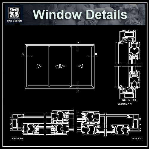 Windows Detail Drawings 2 - CAD Design | Download CAD Drawings | AutoCAD Blocks | AutoCAD Symbols | CAD Drawings | Architecture Details│Landscape Details | See more about AutoCAD, Cad Drawing and Architecture Details