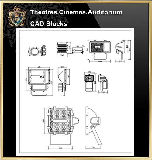 ★【Auditorium ,Cinema, Theaters CAD Blocks-Stage Light CAD Blocks】@Auditorium ,Cinema, Theaters CAD Blocks,Equipment Autocad Blocks,Drawings,Details