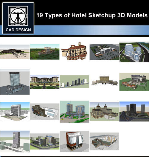 【Sketchup 3D Models】19 Types of Hotel Sketchup 3D Models  V.2 - CAD Design | Download CAD Drawings | AutoCAD Blocks | AutoCAD Symbols | CAD Drawings | Architecture Details│Landscape Details | See more about AutoCAD, Cad Drawing and Architecture Details