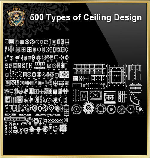 500 Types of Ceiling Design CAD Blocks