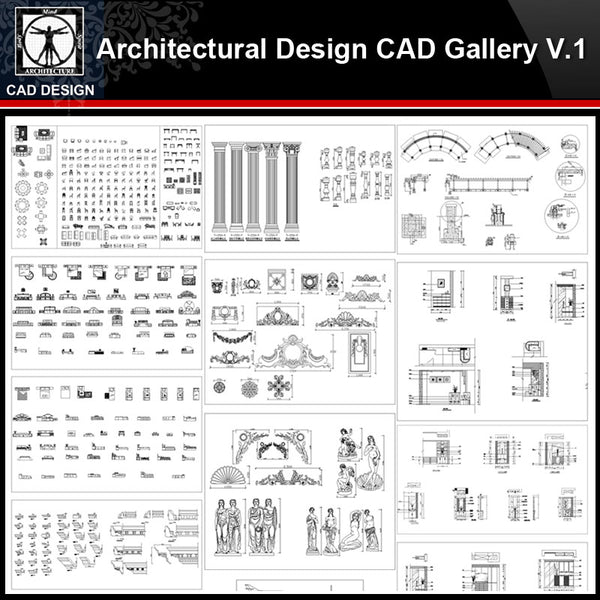 ★【Architectural Design Gallery Autocad Drawings V.1】All Decoration elements Bundle - CAD Design | Download CAD Drawings | AutoCAD Blocks | AutoCAD Symbols | CAD Drawings | Architecture Details│Landscape Details | See more about AutoCAD, Cad Drawing and Architecture Details